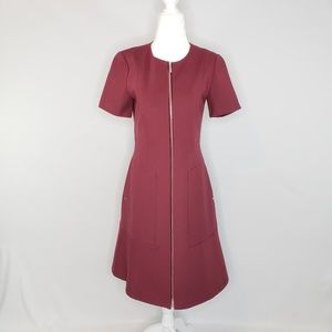 Lafayette 148 Maroon Sonya Zipper Dress Size 2